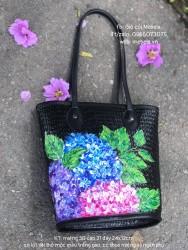 Túi cói đen quai da vẽ cẩm tú cầu siêu xinh