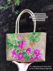 Túi cói chữ nhật quai ống bàng vẽ hoa giấy (mẫu 2)