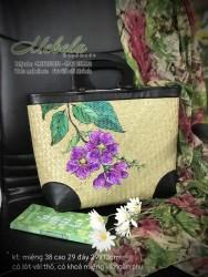 Túi cói quai gỗ bo góc vẽ tay hoa Bằng Lăng tím