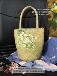 Túi cói dáng trụ vẽ hoa cúc Tina