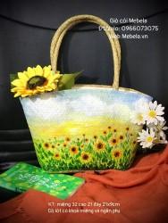 Túi cói vẽ tay vườn hoa Hướng Dương ( cỡ nhỏ)