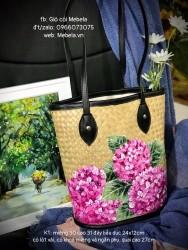 Túi cói vẽ tay hoa Cẩm Tú Cầu màu hồng