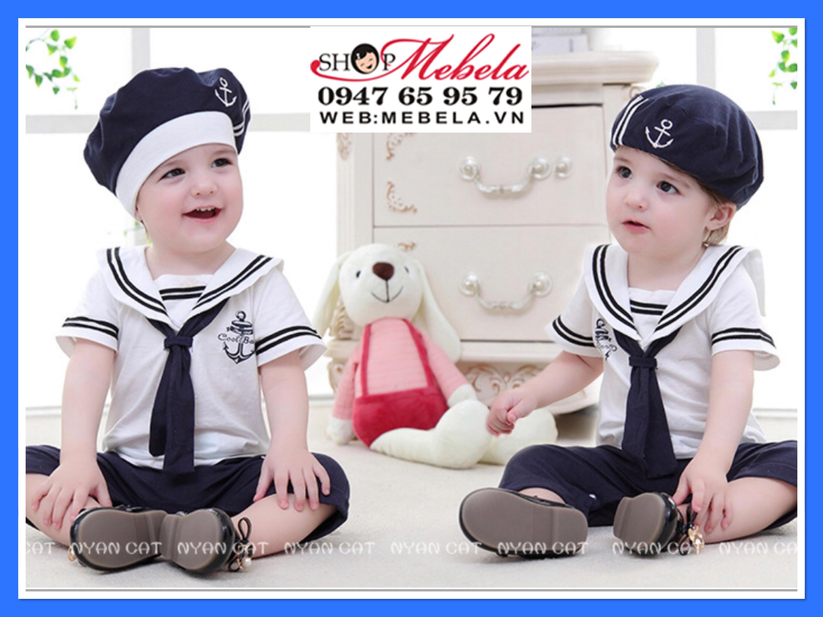 Body thủy thủ áo liền quần kèm mũ cho bé 11,12kg cao 82cm