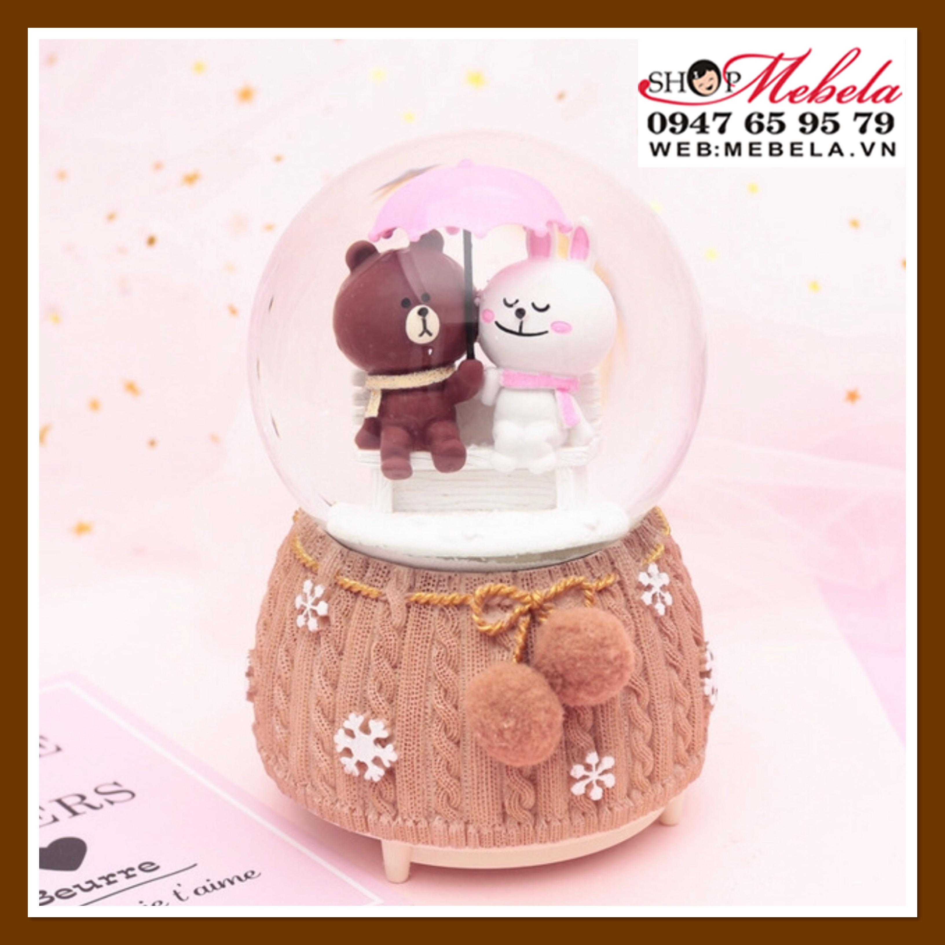 Quả cầu tuyết cặp đôi gấu thỏ che ô có tuyết phun tự động và đèn nhạc