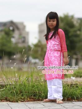 Áo dài truyền thống cho bé gái chất liệu ren