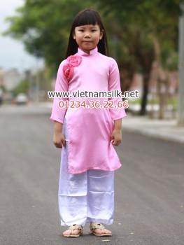 Áo dài cho bé gái chất liệu lụa trơn
