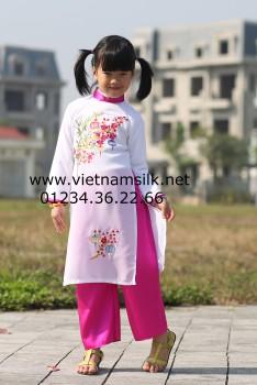 Áo dài thêu tay cho bé gái -AT.58- Họa tiết đèn lồng hoa đào phai