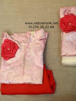 VNS.03 Áo dài truyền thống cho bé gái - Hồng phấn kim tuyến