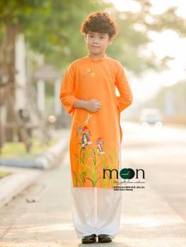 Áo dài vẽ cho bé trai VNS 290 - Đồng quê mùa gặt