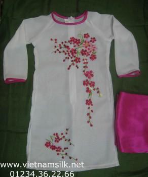 Áo dài thêu dài tay không cổ cho bé gái - AT56 - Áo trắng quần hồng AT56