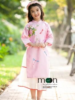 Áo dài vẽ bé gái VNS 280 - Đồng nội dấu yêu