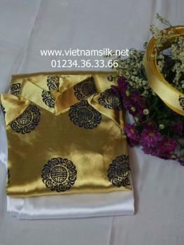 Áo dài gấm Thái Tuấn cho bé trai màu vàng đồng AT31