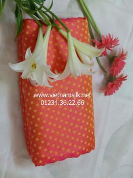 Vải lụa tơ tằm Hà Đông -V45- Màu cam họa tiết chấm bi