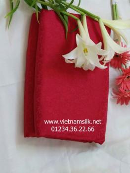 Vải lụa tơ tằm Hà Đông-V28-Màu đỏ họa tiết hoa mai