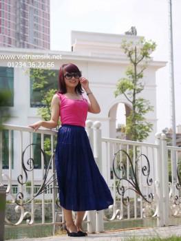 Chân váy lụa tơ tằm màu xanh tím than- VL.71