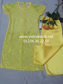 Áo dài cho bé gái ren cotton màu vàng. AT.74