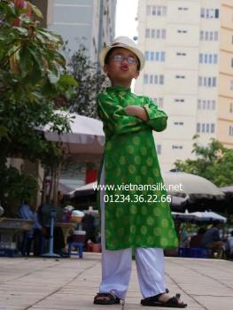 Áo dài cho bé trai lụa Hà Đông - AT.79 - Màu xanh lá cây họa tiết đồng xu