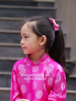 Áo dài cho bé gái lụa Hà Đông (AT.82) Họa tiết đồng xu hồng
