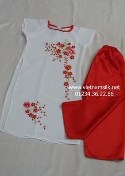 Áo dài thêu trẻ em tay cộc - AT 84 - Áo trắng quần đỏ