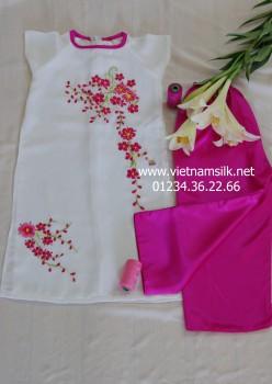 Áo dài bé gái thêu họa tiết tay cộc - AT 85 - Áo trắng quần hồng sen