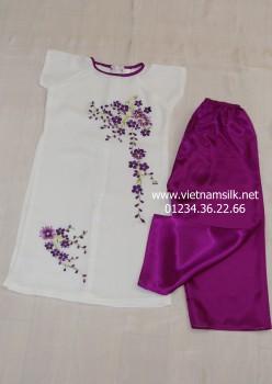 Áo dài thêu bé gái tay cộc- AT 86 - Áo trắng quần tím Huế