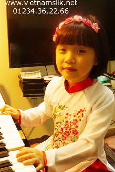 Áo dài trẻ em thêu tay họa tiết đèn lồng- AT.58D - Áo trắng quần đỏ