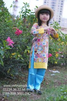 Áo dài bé gái. AT.91. Hoa hướng dương