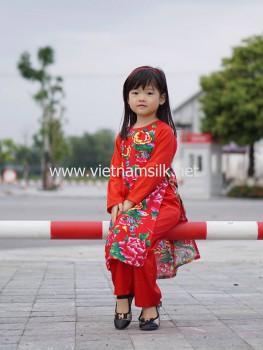 Áo dài chăn công cho bé gái AT.94 (Pha tay đỏ)