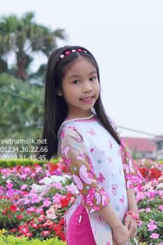 Áo dài cách tân bé gái Mùa xuân hồng.AT99