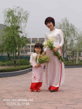 Áo dài trắng lụa tơ tằm Hà Đông