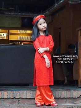 Áo dài ren cho bé gái (AT.R161)