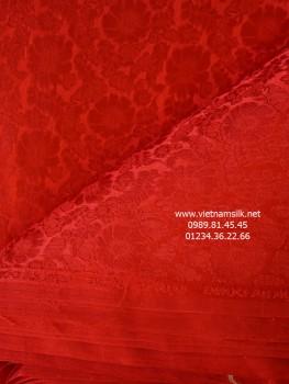 Lụa Hà Đông họa tiết hoa cúc màu đỏ.VL.120