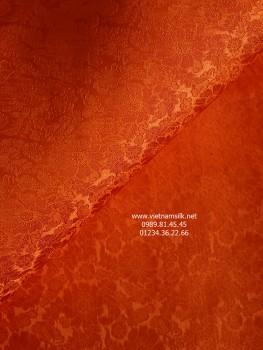 Vải may áo dài lụa tơ tằm họa tiết hoa cúc màu cam (VL.C124)