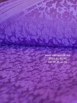 Lụa làng nghề Vạn Phúc (Hà Đông) họa tiết hoa mai tím (VL.128)