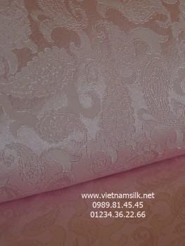 Lụa họa tiết đuôi công màu hồng phấn (VL.131)