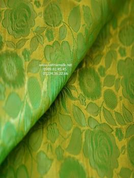 Lụa tơ tằm họa tiết hoa hồng thọ màu xanh cốm nhẹ (VL.135)