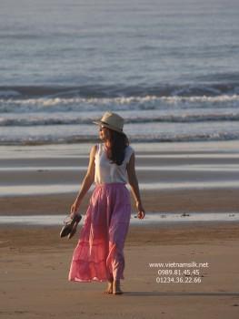 Váy maxi lụa tơ tằm màu hồng vỏ đỗ đậm (VL.137)