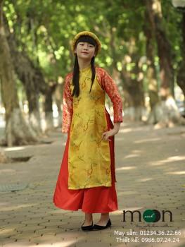 Áo dài gấm Thượng Hải màu vàng VNS174