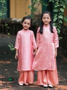 Áo dài cho bé gái VNS 214 (hồng phấn họa tiết chuồn chuồn)