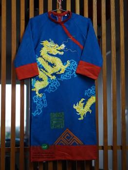 Áo dài cho bé trai vẽ tay họa tiết rồng xanh biển VNS 250