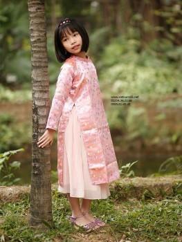 Áo dài cho bé gái gấm Thượng Hải VNS 262