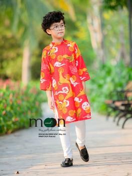Áo dài gấm Thượng Hải bé trai VNS 293 Họa tiết chim hạc màu đỏ