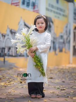 Áo dài trắng lụa tơ tằm Hà Đông dệt tay thủ công VNS 307
