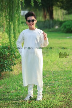 Áo dài trắng trơn bé trai VNS 323
