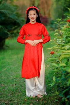 Áo dài lụa đỏ cho bé gái VNS 327