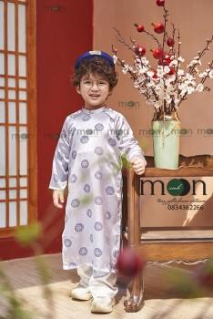 VNS 335 - Áo dài truyền thống bé trai gấm dệt mặt lụa mềm