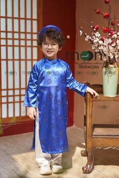 VNS 337 - Áo dài gấm truyền thống bé trai màu xanh coban (xanh dương đậm)