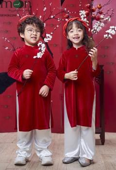 VNS 342 - Áo dài nhung truyền thống bé trai và bé gái màu đỏ