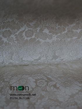 lụa vạn phúc họa tiết hoa cúc trắng VL.145