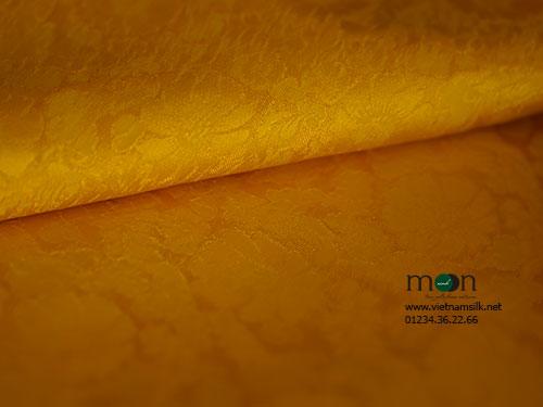 Lụa Vạn Phúc họa tiết hoa cúc vàng nghệ VL.147
